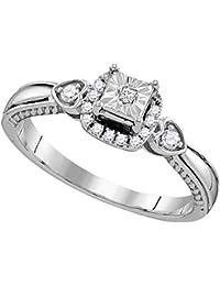 Sólido 925 plata esterlina princesa corte redondo blanco diamante anillo de compromiso o moda banda ajuste