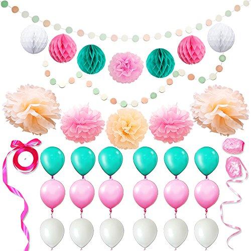 ft Sets für DIY Party Dekorationen, Baby-Dusche, Festival einschließlich Circle Dot Girlanden, Tissue Papier Wabe Pom Pom Ball Laternen, Pom Pom Blumen, Bänder, Ballons ()