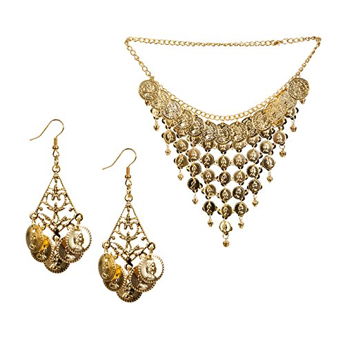 PARTY DISCOUNT ® NEU Orient-Set, Kette mit Ohrringen, gold (Zigeuner Kostüm Kind)