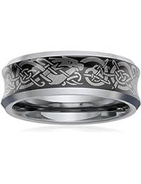 Bling Jewelry cóncavo y ajuste confort negro Dragón Celta anillo anillo de bodas ...