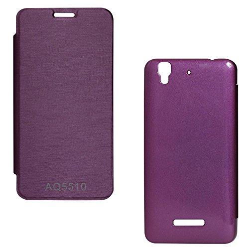 DMG Premium Hot Pressed PU Leather Flip Cover Case for Micromax Yureka Yu AQ5510 (Purple)