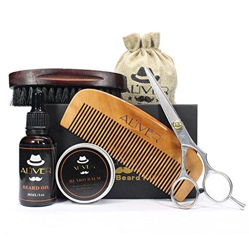 Bartpflege Set für Männer, Organic Bartöl (30ml) + Organic Bart Balsam (30g) + Bartkamm + Bartbürste + Edelstahl Bartschere - Mit Reisetasche und Reisebox, Das Beauty Geschenk Set