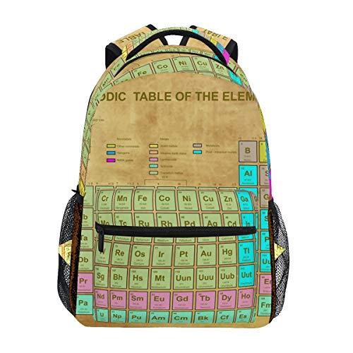 WowPrint Vintage Chemie Element Periodisch Tabelle Rucksack Büchertasche Schulrucksäcke Rucksack Wandern Daypack für Mädchen Kinder Jungen Damen Herren Unisex -