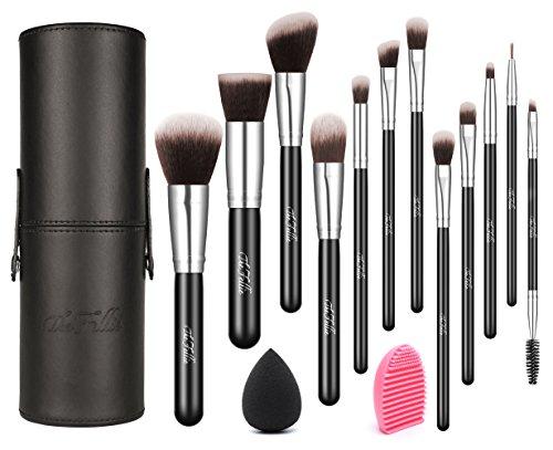 Maquillage Brosses avec étui, The Fellie Makeup Brush Set plus brosse et éponge de mélange, Argent 12pcs
