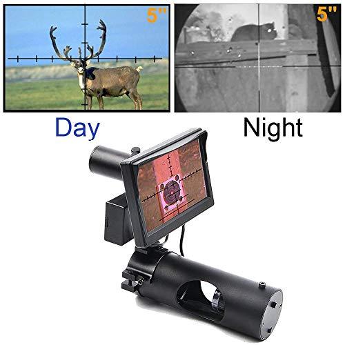 JASHKE Digitales Nachtsichtgerät Integrierte IR-Taschenlampe für die Jagd mit Luftzielfernrohr mit HD-Kamera und tragbarem 5-Zoll-Display - 4 Ccd-ir-kameras