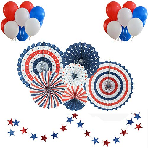 housesweet Patriotische Dekorationen American Independence Day Papier Fans Latex Ballon Party Decor Supplies
