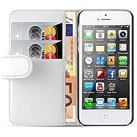 iPhone SE, iPhone 5 / 5s Lederhülle | JAMMYLIZARD Ledertasche [ Wallet Series ] Leder Hülle Flip Case Cover Schutzhülle mit Kartenfach, Weiß