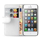 JAMMYLIZARD Lederhülle für iPhone SE und iPhone 5 / 5s | Ledertasche [ Wallet Tasche Series ] Leder Book Case Hülle Flip Cover Schutzhülle mit Kartenfach, Weiß