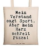 Mr. & Mrs. Panda Tragetasche mit Spruch Mein Verstand SAGT Sport. Aber Mein Herz schreit Pizza!