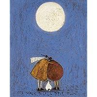 """Sam Toft """"A Moon To Call Their Own"""" Canvas Print, Cotton, Multi-Colour, 3.20 x 40.00 x 50.00 cm"""