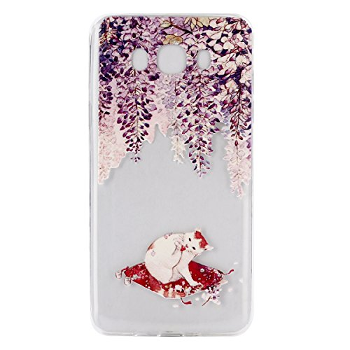 Custodia Samsung Galaxy J7 2016, Samsung Galaxy J7 2016 Cover Silicone Trasparente, SainCat Custodia in Morbida TPU Protettiva Cover per Samsung Galaxy J7 2016, 3D Creative Design Transparent Silicone Viola Chinchilla