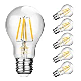 Ascher 5er Pack LED Lampe E27 Retrofit Classic, LED Birne als Kolbenlampe, klar, Nicht Dimmbar, 40W Entspricht Glühlampe, 420lm, Warmweiß 2700K