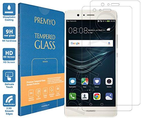PREMYO 2 Stück Panzerglas Schutzglas Bildschirmschutzfolie Folie kompatibel für Huawei P9 Lite Blasenfrei HD-Klar 9H 2,5D Gegen Kratzer Fingerabdrücke