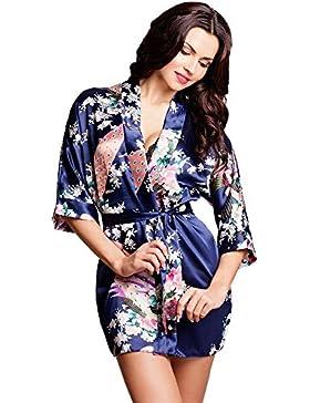 Edler Morgenmantel Kimono aus Satin Größen S-XXL