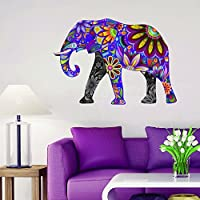PURPLE Abstract Elephant Full Colour Wall Sticker Wall Decal Wall Art Vinyl Wall Mural - STANDARD SIZE (Large Size Also Available)