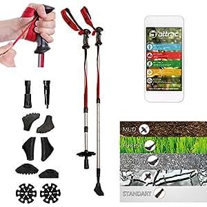 Attrac Bâtons de randonnées Bâtons de trekking antichoc, télescopiques, réglables + Application Nordic Walking Fitness