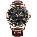 BUREI Mens Simple Luxury Day Date Armbanduhren mit Analog Quarz Zifferblatt römischen Ziffern Lederband (Schwarz-braun2)