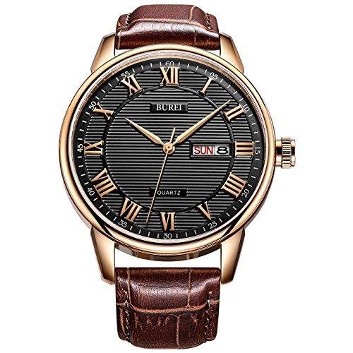 BUREI Mens Simple Luxe Day Date Montres avec Bracelet en Cuir de Quartz analogique Cadran Romain Chiffres (Noir)