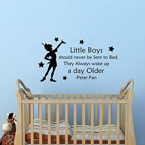 Abnehmbare Peter Pan Zitate Wandtattoo kleine Jungen sollten nie ins Bett geschickt Werden Kinderzimmer Dekor Aufkleber Home Nursery Poster57 * 104cm