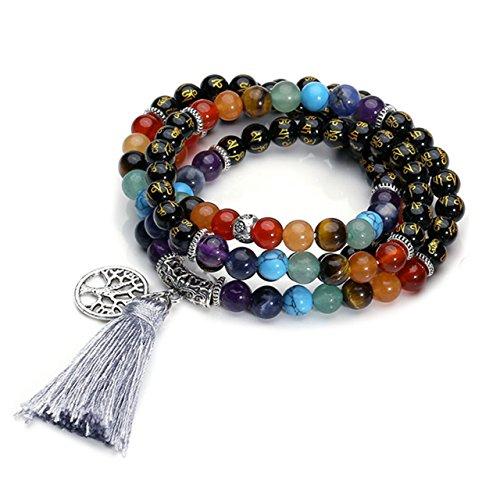 QGEM 108 Perlen Edelstein Yoga Om Mani Padme Hum Armband Wickelarmabnd Chakra Buddha Tibetische Gebetskette Healing Reiki Mala Kette Halskette mit lebensbaum Anhänger (Schwarz Achat)