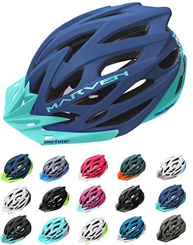 meteor Fahrradhelm Herren Damen Kinder-Helm rollerhelm mädchen kinderfahrradhelm rennradhelm Mountainbike Inliner skaterhelm fahradhelm Scooter Jungen Bike Helmet (M (55-58cm), Marineblau Blau)