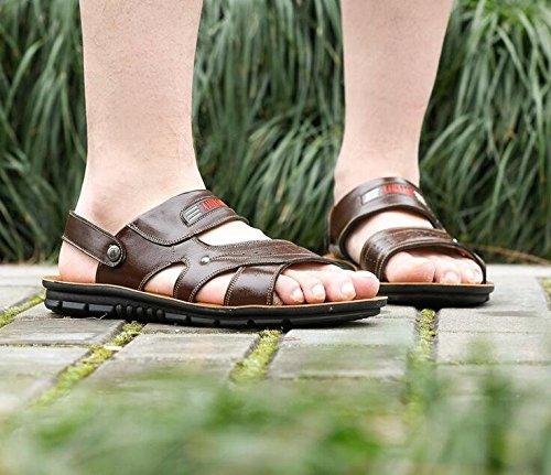 Gaorui Herren Sommer Sandalen Flip-Flop Badeschuhe Strandschuhe PU Leder Slipper Khaki