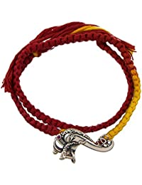 fourseven Red & Yellow 925 Sterling Silver Ganapati Brooch Moli Bracelet For Boys and Girls