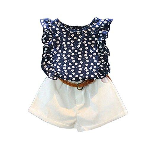 LUBITY 3PCS Costume pour Enfant Chemise sans Manches à Volants à Imprimé Floral Chic + Short de Poche Blanc Pantalons + Ceinture Pas Cher (Marine, 2-3ans)