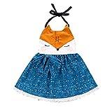 puseky 1 stück baby mädchen ziemlich wenig fuchs sommerkleid passt kleinkind einteiliges kleid (Color : Orange+Blue, Size : 3Y-4Y)