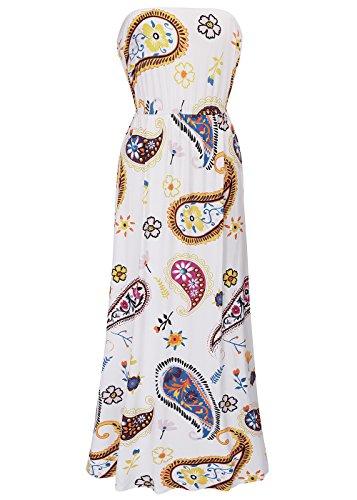 Frauen-Vintages Boho-Blumendruck-trägerloses Schlauch-Maxi Kleid C0010-Weiß