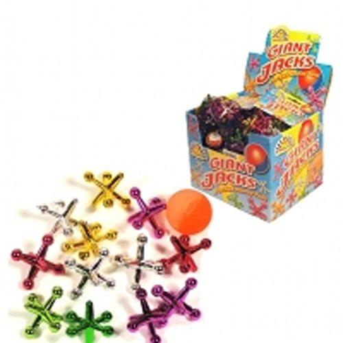 Kids Giant Jacks Game - 13 Piece Set - Assorted Colours in Net Bag - Ideal Boys - Girl Party Loot Bag Fun Toy Stocking Filler