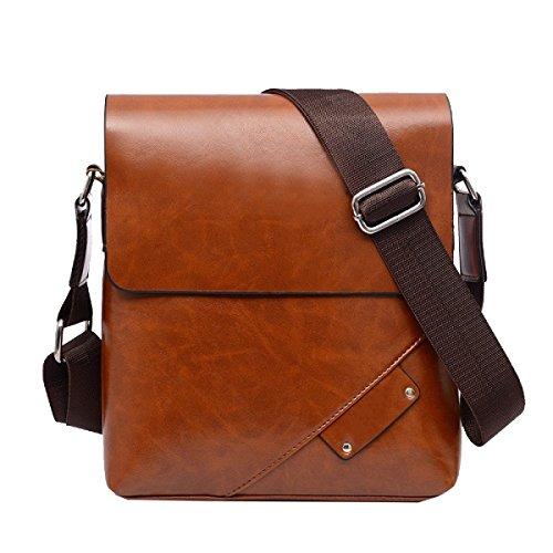 Yy.f High-End-PU-Leder Männer Tasche Vertikale Abschnitt Casual Bag Mode Klassische Praktische Computer-Tasche Reisetasche. 3 Farben Black