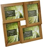"""Standing & Wall Mounted 4 Picture Photo Frame 4"""" x 6"""" Wooden Effect Multi Quad Layered"""