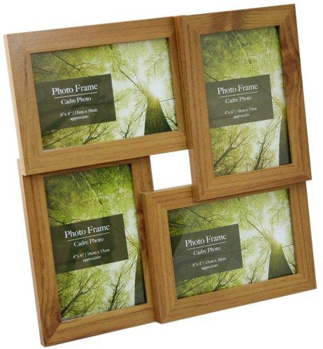 Bilderrahmen / Collagen-Bilderrahmen für 4 Fotos, Holzeffekt, vielschichtig, für Fotos der Größe 15 x 10 cm, zum Aufstellen / Aufhängen