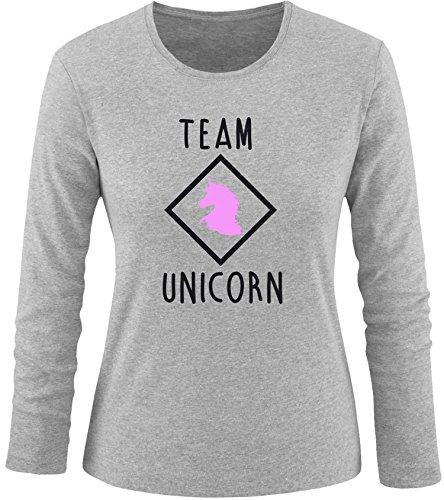 EZYshirt® Team Unicorn Damen Longsleeve Grau/Schwarz/Rosa