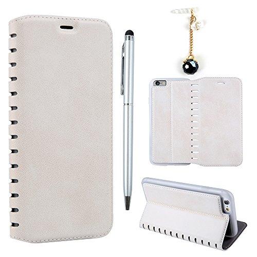 Badalink Hülle für iPhone 6 Plus / iPhone 6S Plus Handyhülle Leder PU Case Rot Magnet Flip Case Retro Muster Einfarbig mit Magnet Adsorption Funktion Ohne Knöpfe Schutzhülle Kartensteckplätzen und Stä Weiß