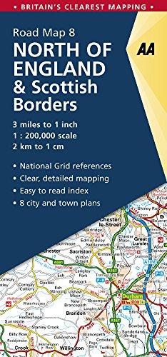 North of England & Scottish Borders (Aa Road Map Britain, Band 8) -