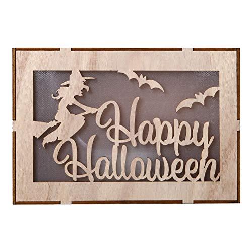Amosfun Happy Halloween LED Nachtlichter Hexe 3D Halloween Dekoration batteriebetriebene Tischleuchte für Home Party (Keine Batterie)