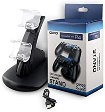 New World Dual Gaming Controller LED Charging Stand USB Charger Station for PS4 Controller (Black)