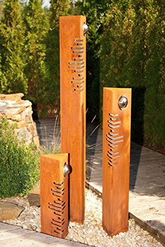 JH-Metalldesign Säulenset Modern Säulen Set Edelrost mit Edelstahl – Kugeln Rost Garten Dekoration Stele