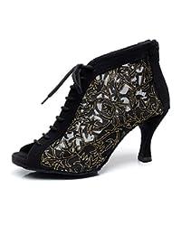 16b80bee6f2b5 BYLE Sandalias de Cuero Tobillo Modern Jazz Samba Zapatos de Baile Zapatos  de Baile Latino Hembra