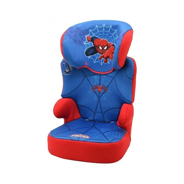 Nania Befix Group 2/3 Highback Booster Infant Car Seat, Disney Spiderman  High back booster car seat with backrest Offers a very good resistance to lateral shocks Features side impact protection and adjustable headrest 1
