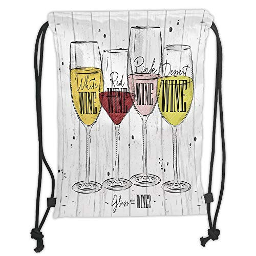 GONIESA Drawstring Sack Backpacks Bags,Wine,Four Main Types of Wine with Their Names Glasses Vintage Rustic Wood Backdrop Drawing Decorative,Multicolor Soft Satin,5 Liter Capacity,Adjustable St