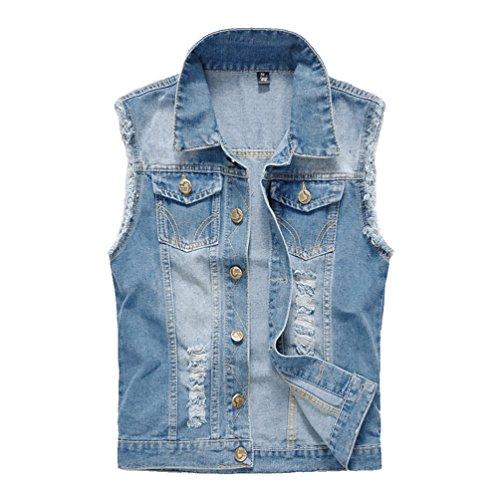 YiJee Uomo Tempo Libero Giacca Senza Maniche Giubbotto Denim Jeans Strappati Retro Panciotto Blu Chiaro L