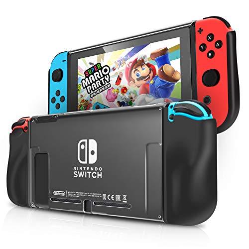 KINGTOP Coque pour Nintendo Switch avec 2 Fentes pour Cartes de Jeu Housse de Protection Anti-rayures Anti-choc Étui en TPU PC, Noir et Transparent