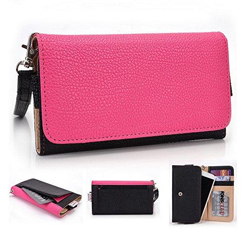 Kroo Pochette Téléphone universel Femme Portefeuille en cuir PU avec dragonne compatible avec Huawei P8Lite/snapto noir - noir Multicolore - Magenta and Black