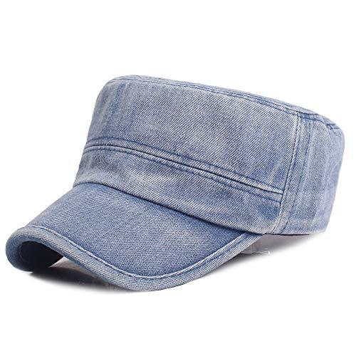 HKHJN Männer Frauen Sommer Outdoor Denim Tuch Flacher Hut Lässig Einstellbare Sonnencreme Hut (Color : Color Blue, Size : One Size) - Paper Denim Tuch