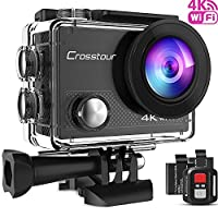 Crosstour 4K 16MP Sport Action Camera Ultra HD Camcorder WiFi Waterproof Camera 170 Degree Wide View Angle 2 Inch LCD Screen W/2.4G Remote Control/2 Rechargeable Batteries/20 Accessories Kits