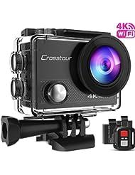 Crosstour Caméra Sport 4K Ultra HD Wi-FI 16 MP avec Télécommande Appareil Photo Caméscope Étanche 30M 170 °Grand-Angle avec 2 Pouces LCD 2 Batteries Rechargeables 1050mAh et 18 Accessoires CT9000
