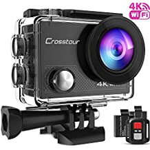 Crosstour Caméra Sport 4K Ultra HD Wi-Fi 16 MP avec Télécommande Appareil Photo Caméscope Étanche 30M 170 °Grand-angle avec 2 pouces LCD 2 Batteries Rechargeables 1050mAh et 18 Accessoires